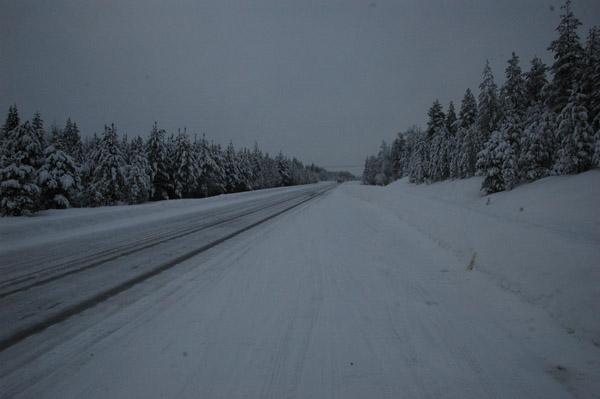 Do JokkMokk mamy 200 kilometr?w. Droga zajmuje nam dobre 3 godziny, cho? ruchu nie ma wcale. Generalnie musz? doda?, ?e za oknami jest pi?knie.